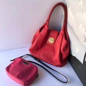 2pc KATE SPADE mauve pink large leather tote shoulder bag +nylon crossbody purse